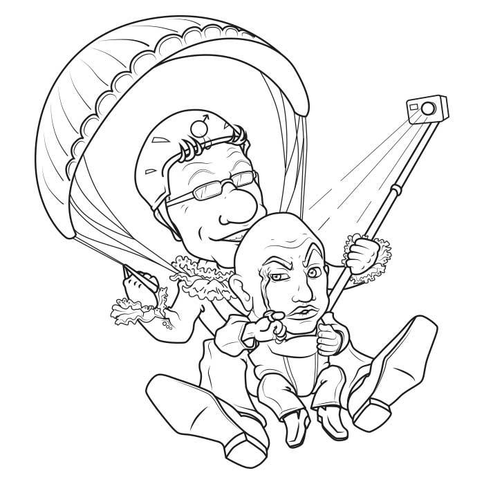 Disegno caricatura per Montegrappa Tandem Team
